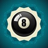 Bola preta número oito da associação Imagens de Stock Royalty Free
