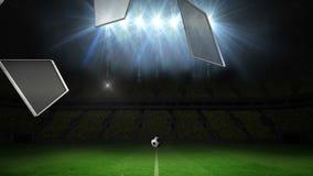Bola que rompe el vidrio en campo de fútbol stock de ilustración