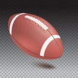 Bola rayada americana del fútbol, posición diagonal en marco Ejemplo realista del vector 3D Icono del rugbi del vuelo Foto de archivo