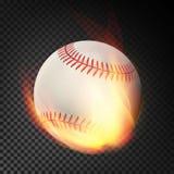 Bola realista llameante del béisbol en el vuelo del fuego a través del aire Bola ardiente en fondo transparente stock de ilustración
