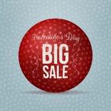 Bola realista roja del vector de la venta grande del día de tarjetas del día de San Valentín Imagen de archivo libre de regalías