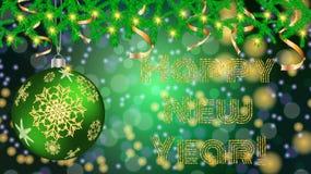 Bola redonda de la Navidad, juguete, la Navidad, decoración del Año Nuevo con un modelo de copos de nieve en ramas de la picea co stock de ilustración