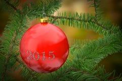 Bola roja colgante de la Navidad Imagen de archivo