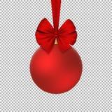 Bola roja de la Navidad con la cinta realista roja en el fondo blanco Feliz Año Nuevo Vector Fotos de archivo libres de regalías