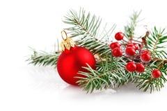 Bola roja de la Navidad con el abeto de la rama en nieve Fotos de archivo