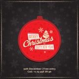Bola roja de la Navidad con Feliz Navidad de la muestra y Feliz Año Nuevo Tarjeta de felicitación, bandera ilustración del vector
