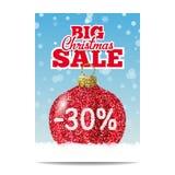 Bola roja de la Navidad del brillo para la venta de la Navidad Foto de archivo libre de regalías