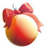 Bola roja de la Navidad del ejemplo con la cinta del lazo de satén aislada ilustración del vector