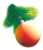 Bola roja de la Navidad del ejemplo con la rama del árbol de abeto aislada ilustración del vector