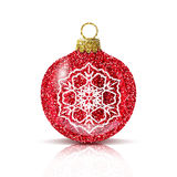 Bola roja de la Navidad del vector con el copo de nieve de plata Foto de archivo