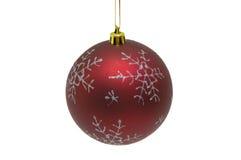 Bola roja de la Navidad en el fondo blanco Foto de archivo