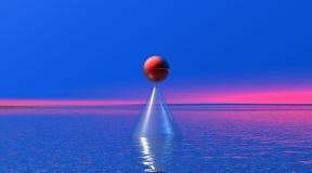 Bola roja en un cono en paisaje pacífico libre illustration