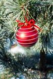 Bola roja grande de las decoraciones de la Navidad en el árbol de Navidad al aire libre Imagen de archivo