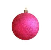 Bola rosada de la Navidad aislada con la trayectoria de recortes Fotos de archivo