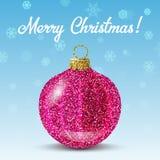 Bola rosada de la Navidad del vector en fondo de los copos de nieve Imagen de archivo