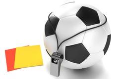 Bola, silbido y tarjetas de fútbol Imágenes de archivo libres de regalías