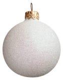 Bola spangled blanca de la Navidad Foto de archivo libre de regalías