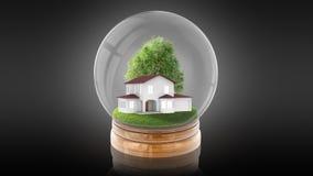 Bola transparente da esfera com a casa branca moderna para dentro rendição 3d Imagem de Stock