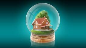 Bola transparente da esfera com casa de madeira para dentro rendição 3d Imagens de Stock Royalty Free