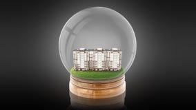 Bola transparente da esfera com a casa moderna do partment para dentro rendição 3d Foto de Stock Royalty Free