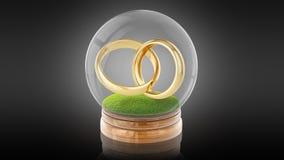 Bola transparente de la esfera con los anillos de la boda dentro representación 3d representación 3d Imagen de archivo libre de regalías