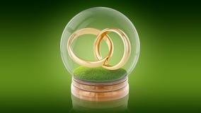 Bola transparente de la esfera con los anillos de la boda dentro representación 3d representación 3d Imágenes de archivo libres de regalías