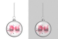 Bola transparente realística do Natal com aquarela Ano novo t ilustração do vetor