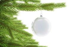 Bola vazia do White Christmas que pendura no modelo do pinho, rotação dada laços filme