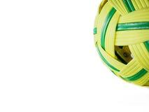 Bola velha do takraw do sepak da bola do rattan no fundo branco Imagem de Stock Royalty Free