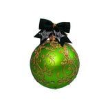 Bola verde de la Navidad aislada en Año Nuevo del fondo blanco Imagen de archivo