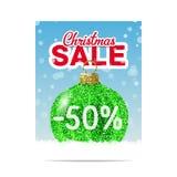 Bola verde de la Navidad del brillo para la venta de la Navidad Foto de archivo libre de regalías