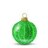 Bola verde de la Navidad del vector con textura del brillo Foto de archivo libre de regalías