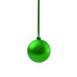 Bola verde do Natal isolada no ano novo do fundo branco Fotografia de Stock Royalty Free