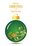 Bola verde floral de la Navidad ilustración del vector