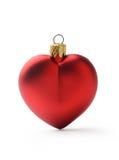 Bola vermelha dada forma coração do Natal Fotos de Stock Royalty Free