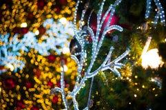 A bola vermelha do brilho comemora o Natal na árvore com fundo da vinheta da luz branca do fio fotos de stock
