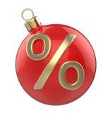 Bola vermelha do brinquedo do Natal da Natal-árvore do ano novo com símbolo dos por cento Fotografia de Stock