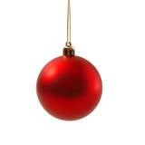 Bola vermelha do Natal isolada no ano novo do fundo branco Imagem de Stock