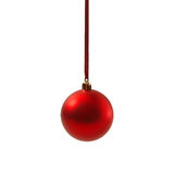 Bola vermelha do Natal isolada no ano novo do fundo branco Fotografia de Stock