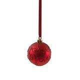 Bola vermelha do Natal isolada no ano novo do fundo branco Foto de Stock