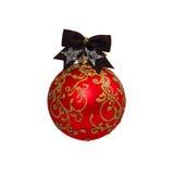 Bola vermelha do Natal isolada no ano novo do fundo branco Imagem de Stock Royalty Free