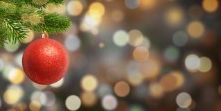 Bola vermelha do Natal no ramo Espaço livre para o Natal, texto dos cumprimentos do ano novo fotografia de stock