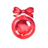 Bola vermelha pintada aquarela do Natal ilustração do vetor