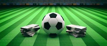 Bola y billetes de banco del fútbol del fútbol en un fondo del campo ilustración 3D stock de ilustración