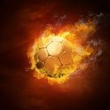 Bola y fuego de fútbol Imagen de archivo