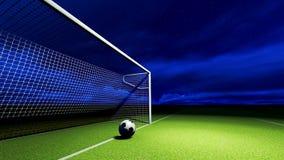 Bola y meta de fútbol foto de archivo