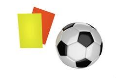 Bola y tarjetas de fútbol Imagen de archivo