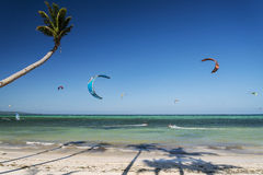 Bolabog kite surfing  beach in tropical paradise boracay island Royalty Free Stock Photo