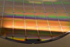 Bolacha e microcircuitos de silicone - uma bolacha é uma fatia fina de material do semicondutor, tal como um silicone cristalino, imagem de stock royalty free