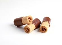 A bolacha rola com chocolate fotografia de stock